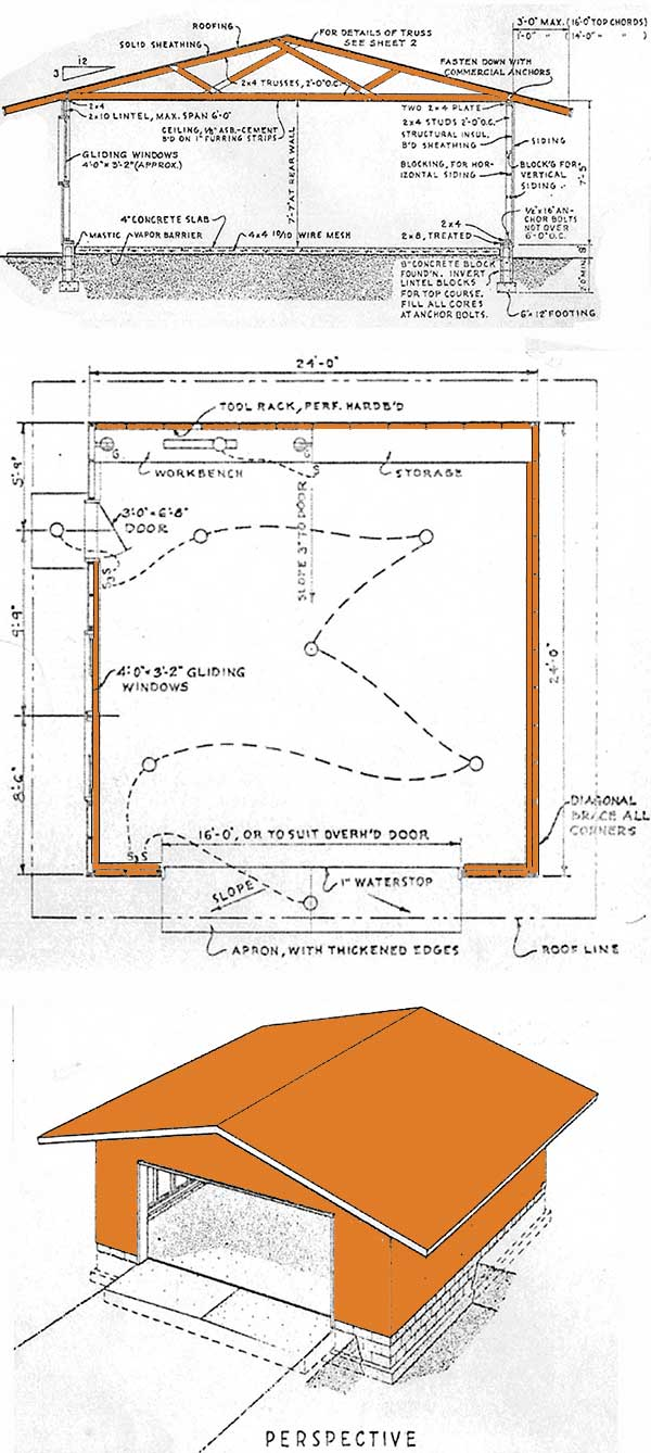 24×24 Garage Shed Plans – How To Build A Garage Shed